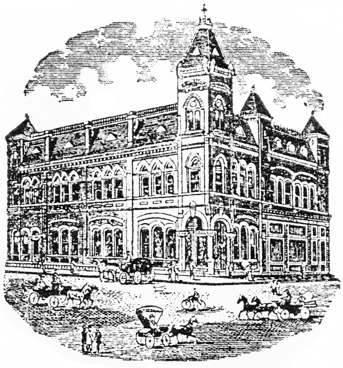 First National Bank (wood cut)